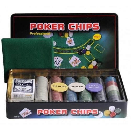 Покерный набор на 300 фишек с номиналом + сукно